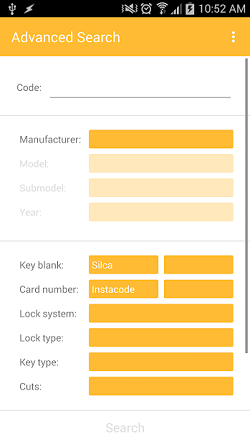 """The InstaCode Live Mobile App showing the """"Advanced search"""" with search fields for """"Key Code"""", """"Manufacture"""", """"Model"""", """"Submodel"""", """"year"""", """"Key blank"""", """"Card number"""", """"Lock system"""", """"Lock type"""", """"Key type"""" and """"Cuts""""."""