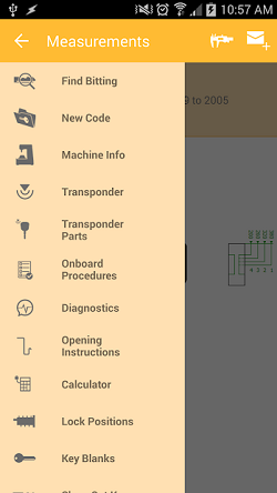 """The InstaCode Live Mobile App function menu showing options for """"Find Bitting"""", """" New Code"""", """"Machine Info"""", """"Transponder"""", """"Transponder Parts"""", """"Onboard Procedures"""", """"Diagnostics"""", """"Opening Instructions"""", """"Calculator"""", """"Lock positions"""" and """"Key Blanks"""". With more options accessible by scrolling."""