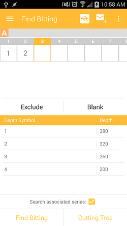 """The InstaCode Live Mobile App """"Find Bitting"""" screen, listing the cut positions with only the first two position with values entered, and buttons available to select a value for the subsequent positions."""