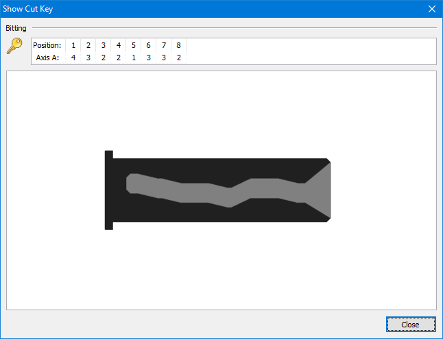 """InstaCode PC Show Cut Key window listing the """"Bitting"""" of the selected key and below that a greyscale representation of what the cut key blade would look like. In the bottom right corner is a close button."""